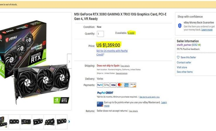 MSI Accused of Selling GeForce RTX 3080 At Inflated Prices