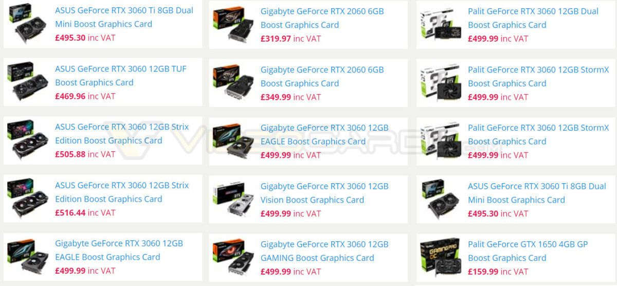 Nvidia GeForce RTX 3060 Prices Leaked