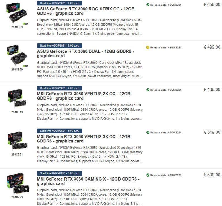 NVIDIA RTX 3060 Price Hike by Retailers in Europe